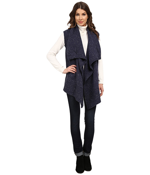 DKNY Jeans - Drape Front Nep Yarn Vest (Dark Moon Indigo) Women