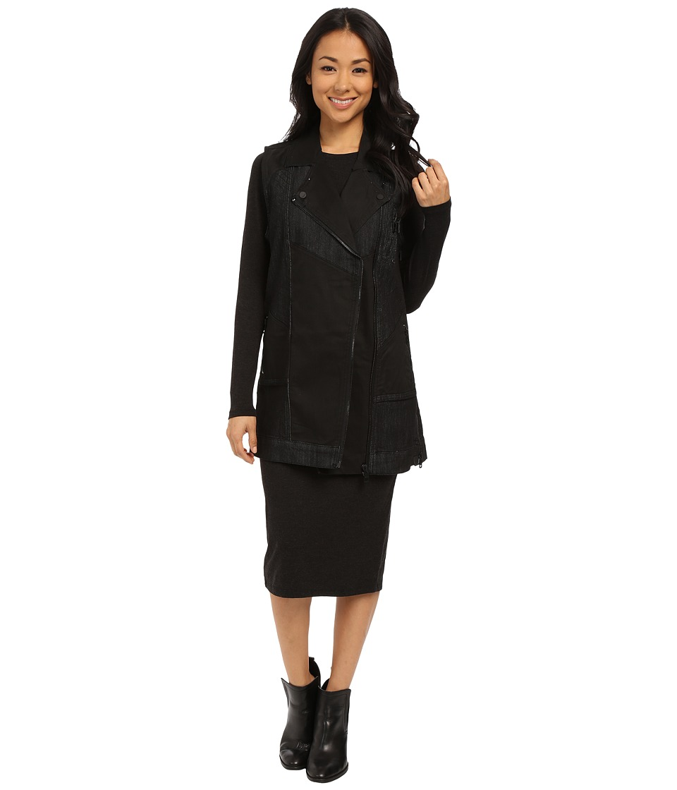 DKNY Jeans - Long Denim Moto Vest (Black) Women
