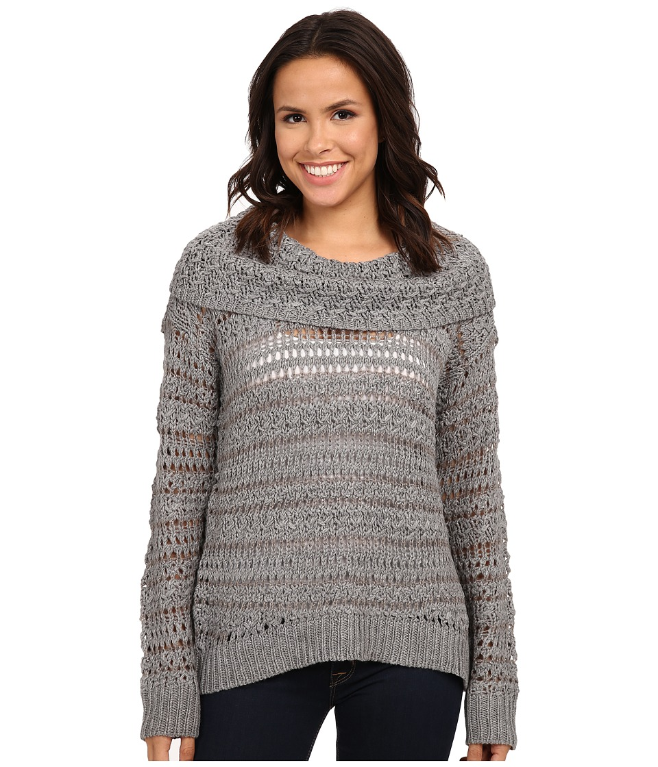 DKNY Jeans - Yarn Mix Crochet Cowl Pullover (Smoke) Women