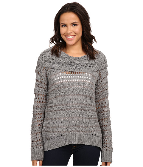 DKNY Jeans - Yarn Mix Crochet Cowl Pullover (Smoke) Women's Long Sleeve Pullover