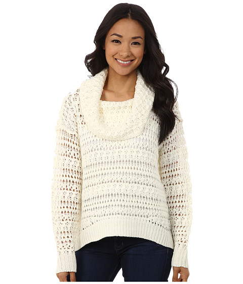 DKNY Jeans - Yarn Mix Crochet Cowl Pullover (Polar Cream) Women's Long Sleeve Pullover