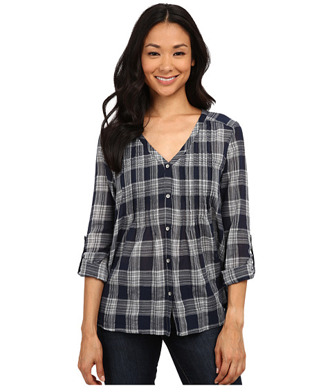 DKNY Jeans - Cotton Gauze Plaid Shirt (Mood Indigo) Women
