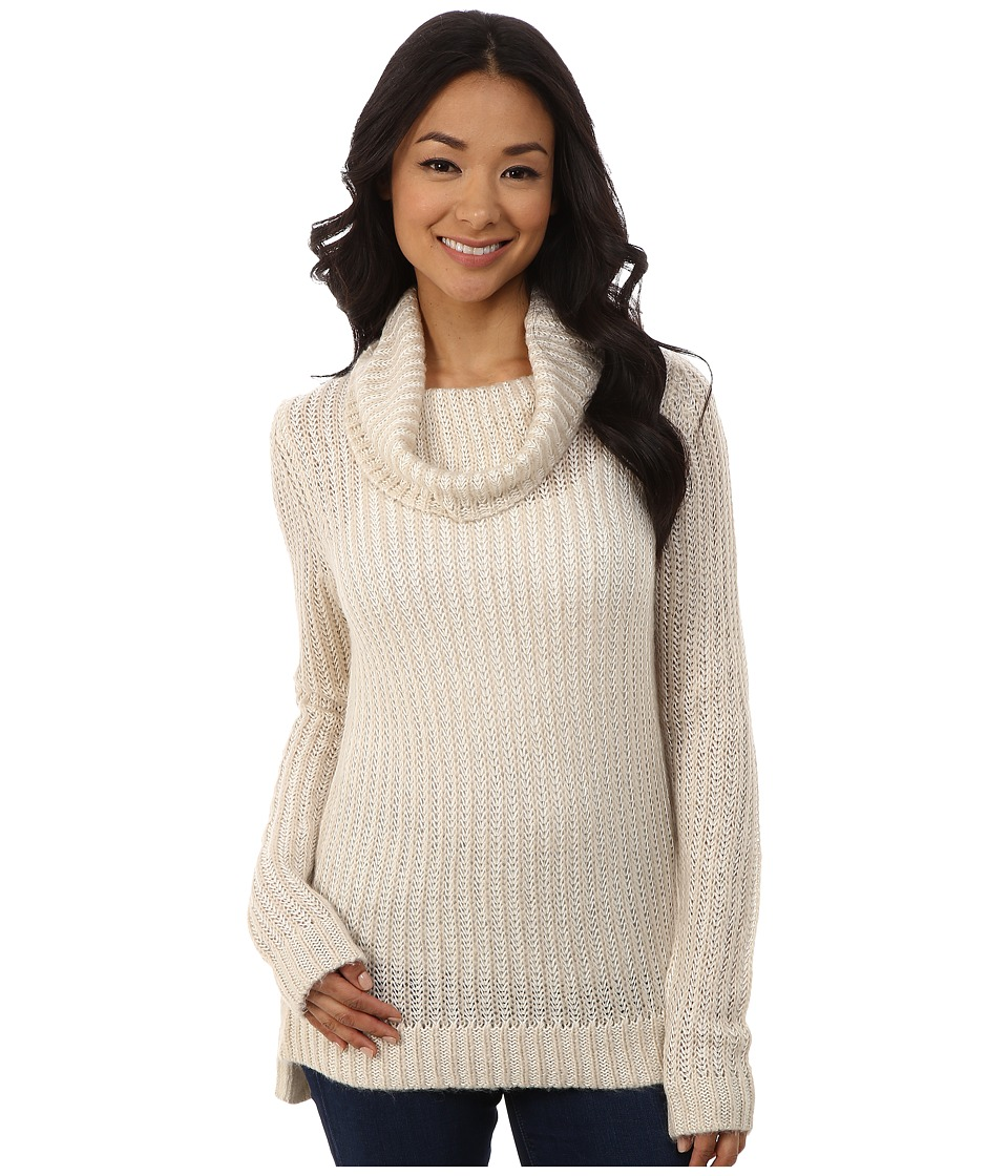 DKNY Jeans - Turtleneck Yarn Mix Pullover (Almond) Women's Long Sleeve Pullover