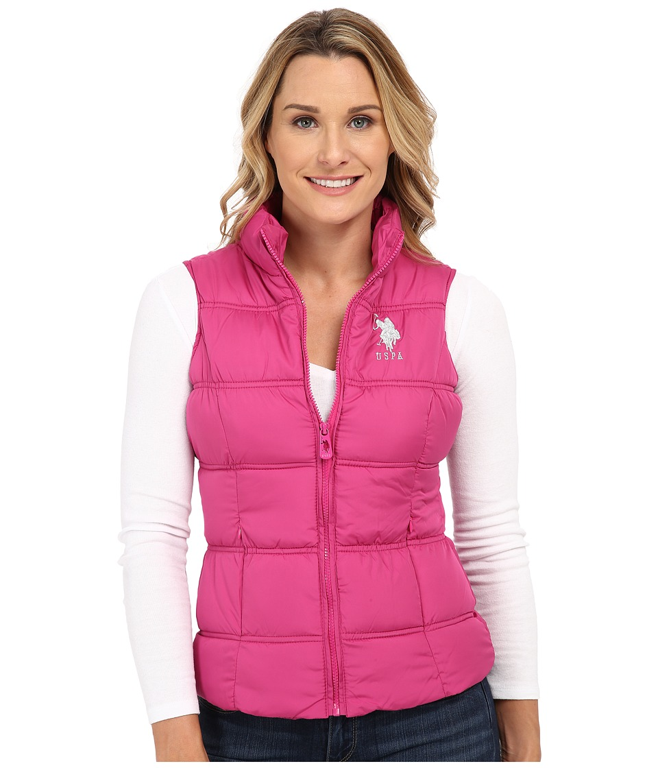 U.S. POLO ASSN. - Basic Princess Seamed Puffer Vest (Very Berry Pink) Women's Vest