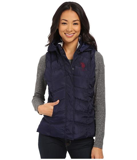 U.S. POLO ASSN. - Hooded Ribbed Collar Vest (Evening Blue) Women
