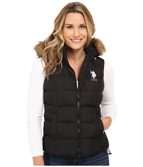 U.S. POLO ASSN. - Basic Puffer Vest with Faux Fur Trimmed Hood (Black) Women's Coat