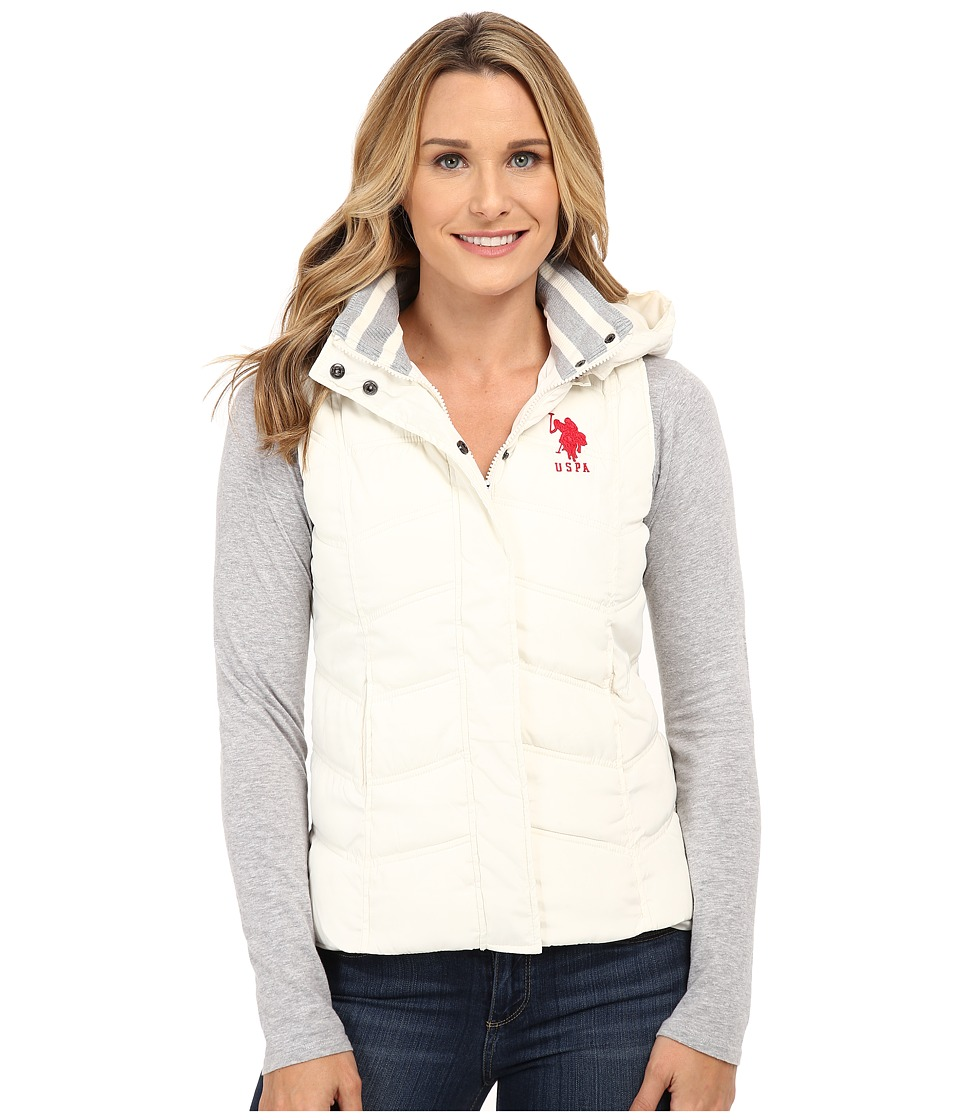 U.S. POLO ASSN. - Hooded Ribbed Collar Vest (Oat) Women