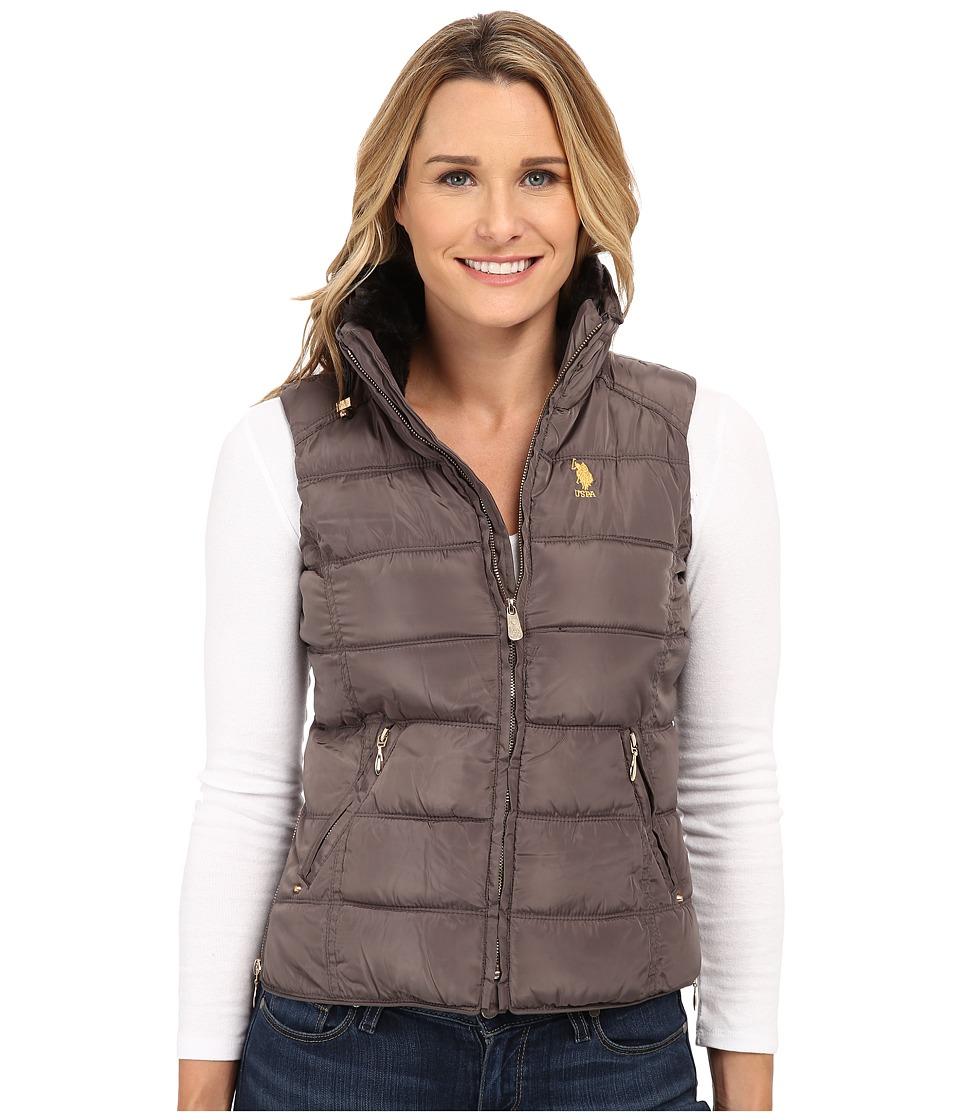 U.S. POLO ASSN. - Puffer Vest with Faux Fur Collar (Warm Grey) Women