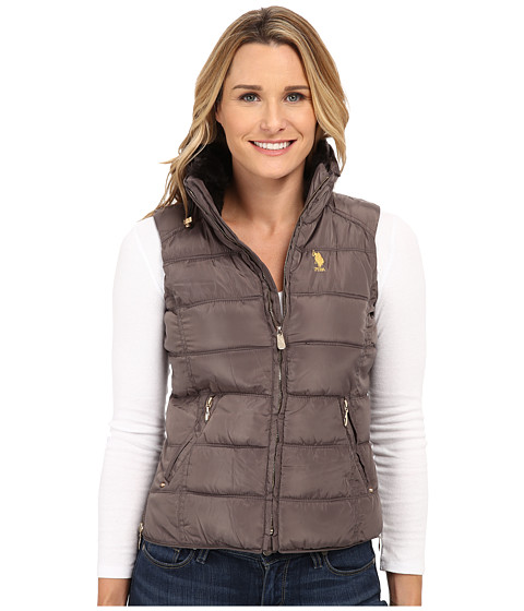 U.S. POLO ASSN. - Puffer Vest with Faux Fur Collar (Warm Grey) Women's Coat