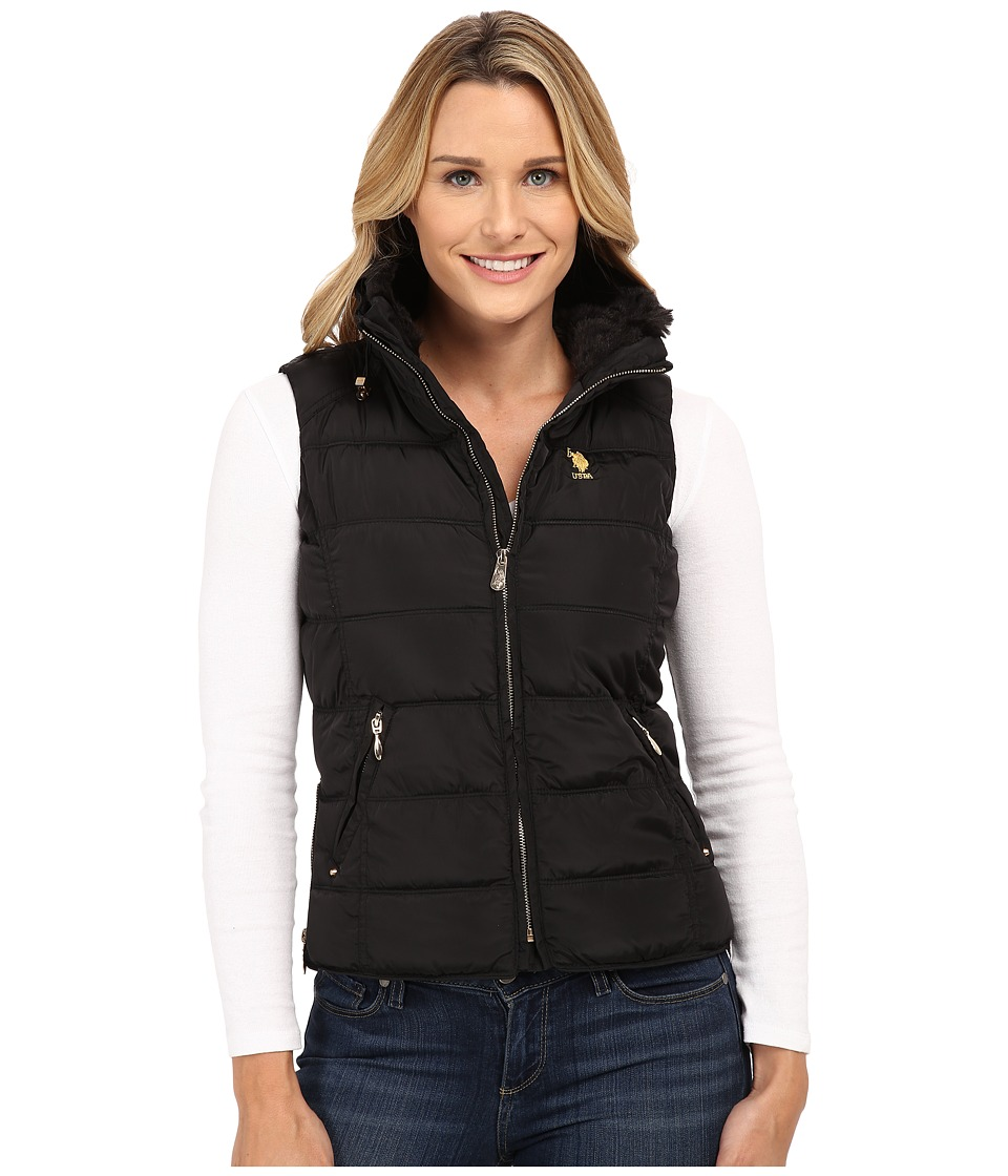 U.S. POLO ASSN. - Puffer Vest with Faux Fur Collar (Black) Women