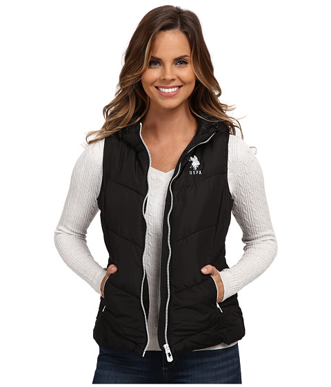 U.S. POLO ASSN. - Hooded Vest with Contrast Zippers (Black) Women