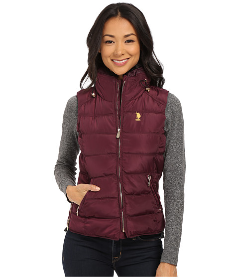 U.S. POLO ASSN. - Puffer Vest with Faux Fur Collar (Merlot Wine) Women