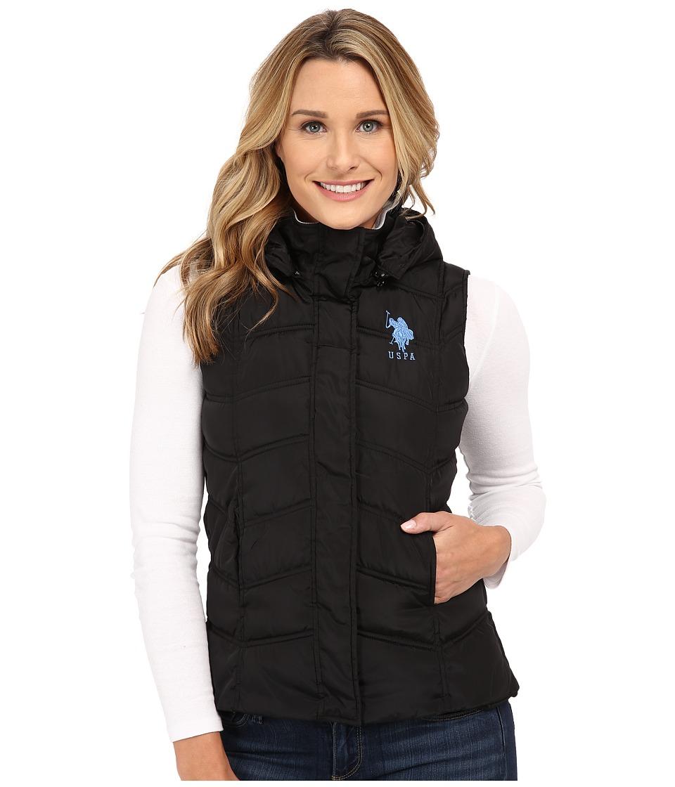 U.S. POLO ASSN. - Hooded Ribbed Collar Vest (Black) Women
