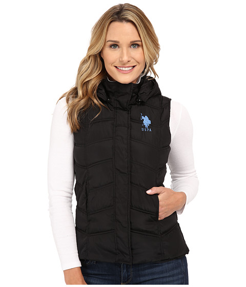 U.S. POLO ASSN. - Hooded Ribbed Collar Vest (Black) Women's Coat