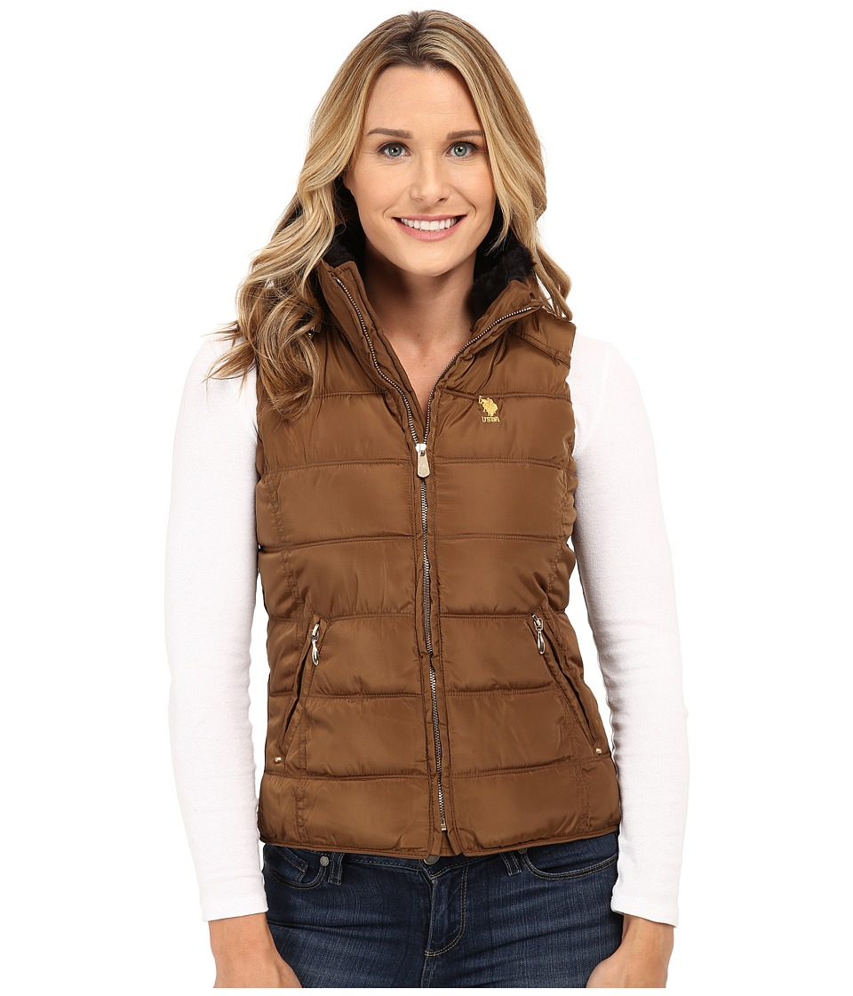 U.S. POLO ASSN. - Puffer Vest with Faux Fur Collar (Light Olive) Women's Coat