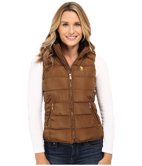 U.S. POLO ASSN. - Puffer Vest with Faux Fur Collar (Light Olive) Women