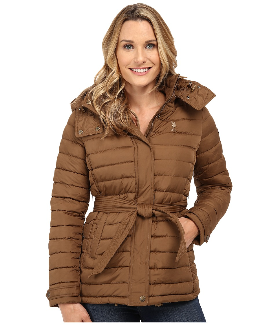 U.S. POLO ASSN. - Hooded Puffer with Self Tie Belt (Light Olive) Women's Clothing