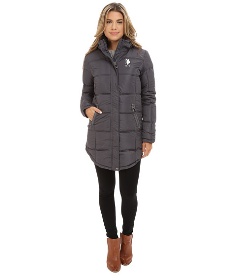 U.S. POLO ASSN. - Long Hooded Puffer with Ribbon Taping Detail (New Grey) Women