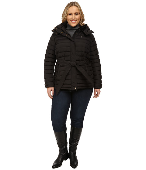 U.S. POLO ASSN. - Plus Size Hooded Puffer with Self Tie Belt (Black) Women's Clothing