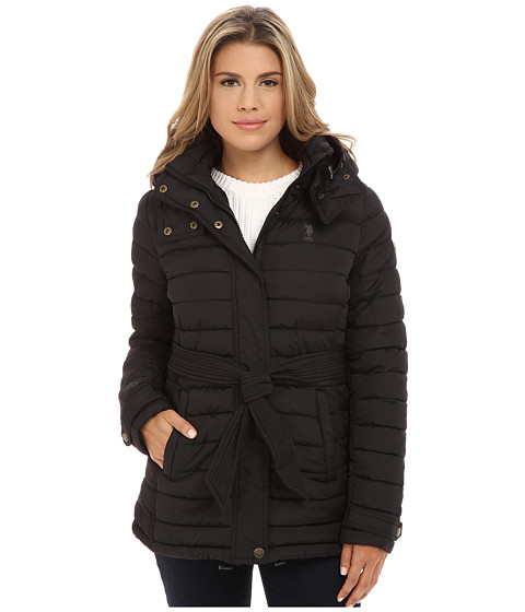U.S. POLO ASSN. - Hooded Puffer with Self Tie Belt (Black) Women's Clothing