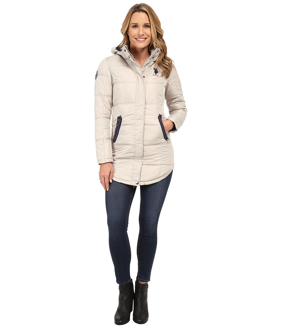 U.S. POLO ASSN. - Long Hooded Puffer with Ribbon Taping Detail (Wheat) Women's Clothing