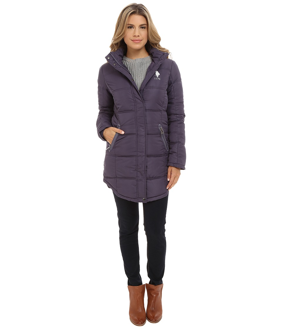 U.S. POLO ASSN. - Long Hooded Puffer with Ribbon Taping Detail (Iridescent Grape) Women's Clothing