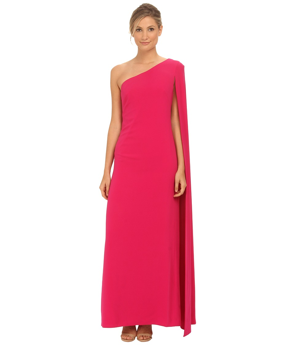 JILL JILL STUART - One Shoulder Cape 2-Ply Crepe Gown (Hot Pink) Women