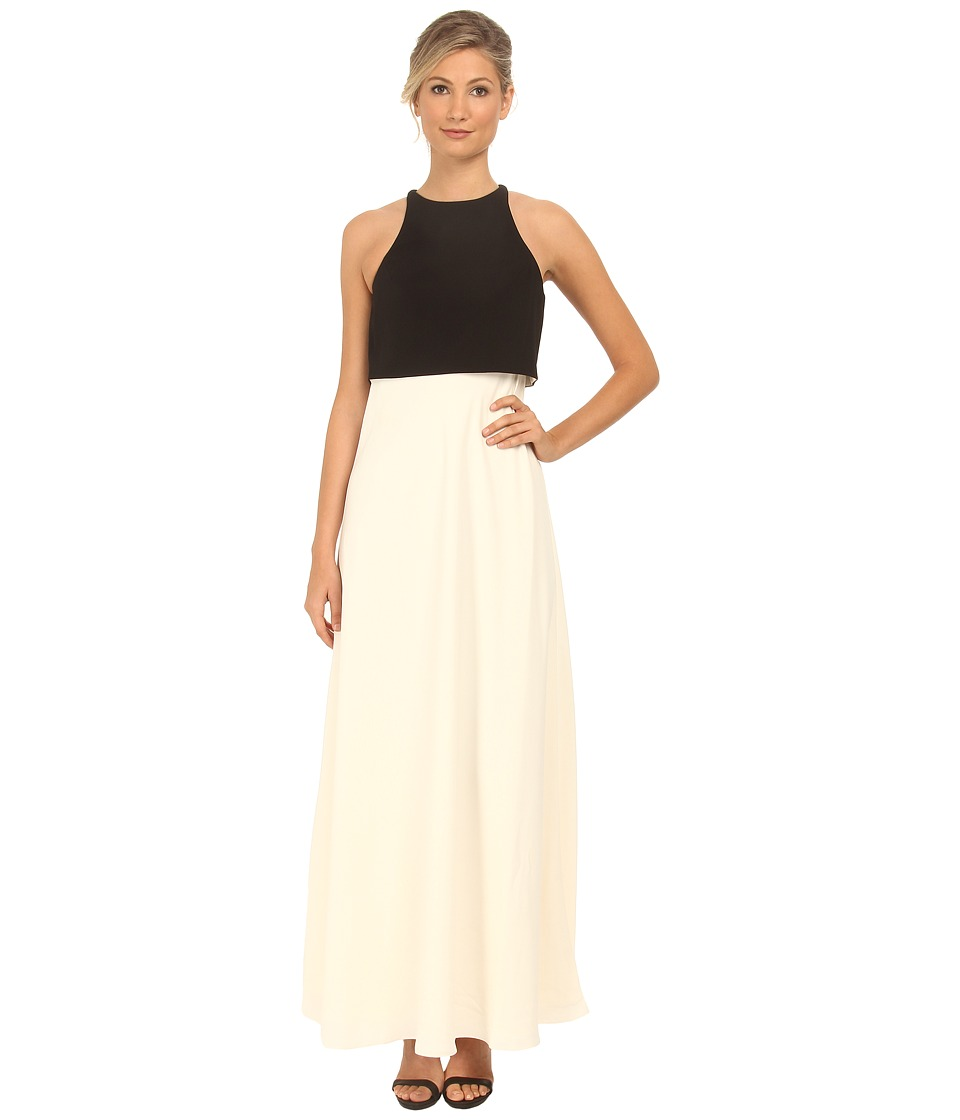 JILL JILL STUART - Two-Tone Pop Over 2-Ply Crepe Gown (Black/Off-White) Women's Dress