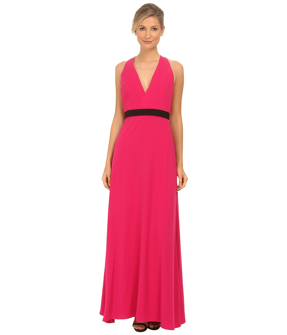 JILL JILL STUART - Sleeveless Deep V Belted Crepe Gown (Hot Pink) Women