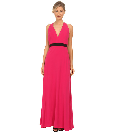 JILL JILL STUART - Sleeveless Deep V Belted Crepe Gown (Hot Pink) Women's Dress