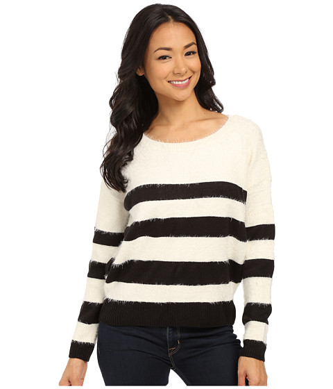 DKNY Jeans - Stripe Eyelash Pullover (Polar Cream) Women's Sweater