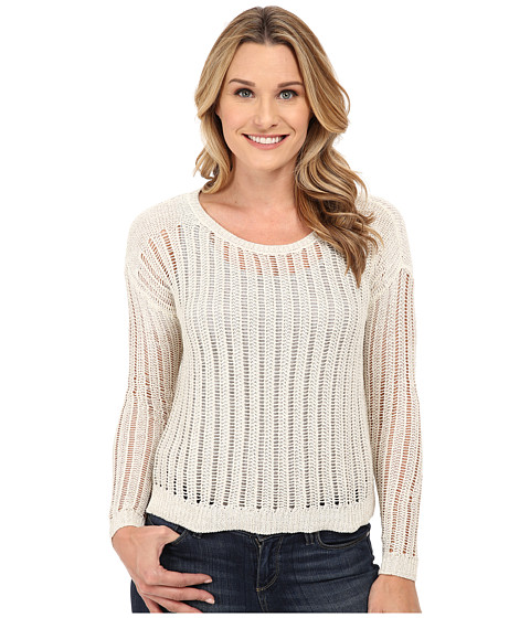 DKNY Jeans - Crochet Stitch Shine Pullover (Polar Cream) Women's Long Sleeve Pullover