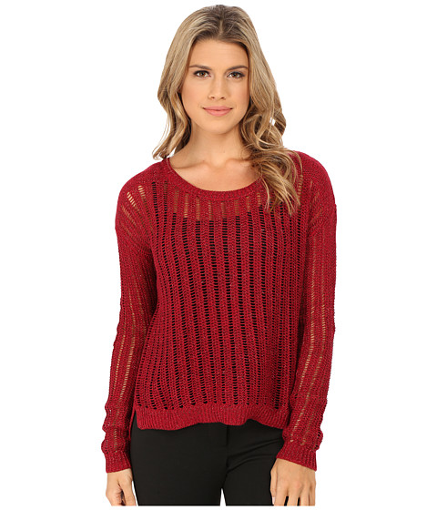 DKNY Jeans - Crochet Stitch Shine Pullover (Syrah) Women's Long Sleeve Pullover