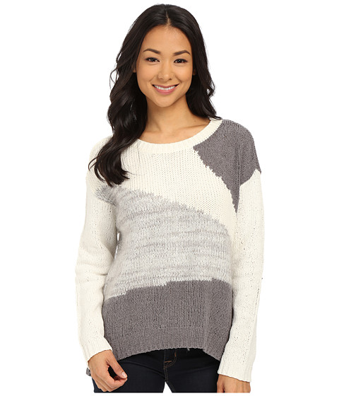 DKNY Jeans - Yarn Mix Color Block Pullover (Polar Cream) Women's Long Sleeve Pullover