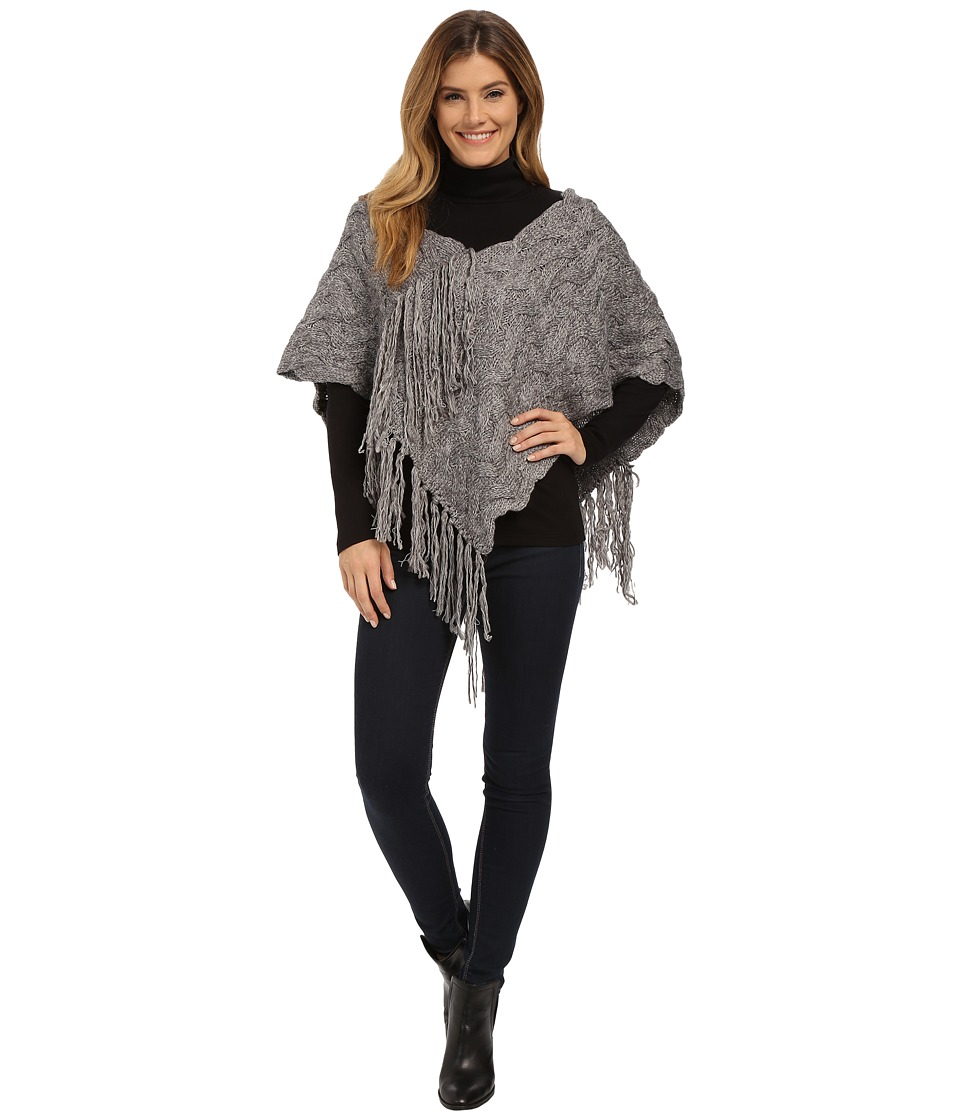 DKNY Jeans - Textured Fringe Poncho (Smoke) Women's Sweater