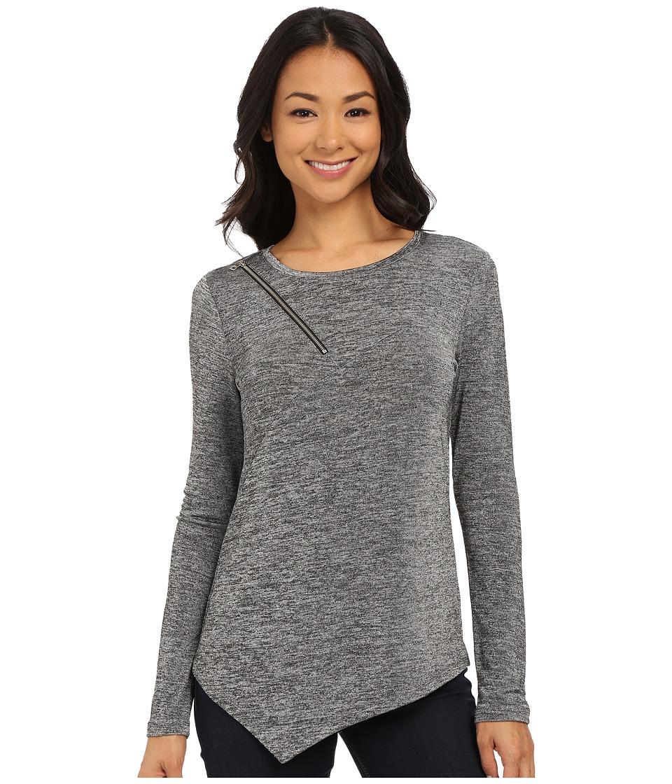 DKNY Jeans - Marl Shine Asymmetric Top w/ Zipper Detail (Pebble) Women's Long Sleeve Pullover