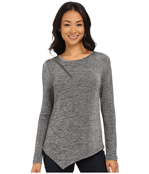 DKNY Jeans - Marl Shine Asymmetric Top w/ Zipper Detail (Pebble) Women's Long Sleeve Pullover