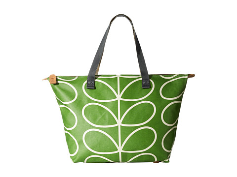 Orla Kiely - Matt Laminated Giant Linear Stem Print Zip Shopper (Apple) Tote Handbags