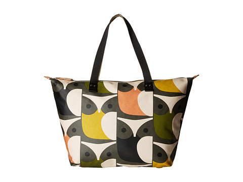 Orla Kiely - Matt Laminated Big Owl Print Zip Shopper (Multi) Handbags