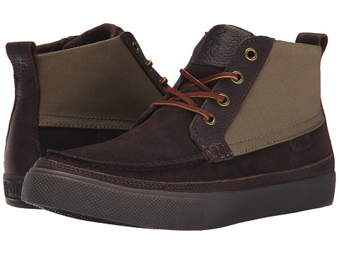 Polo Ralph Lauren - Tomas (Dark Brown/Olive Sport Suede/Cordura) Men's Lace-up Boots