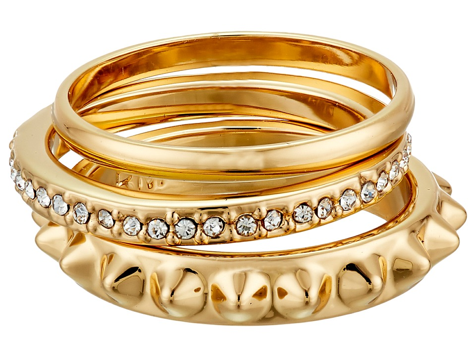 Rebecca Minkoff - Three Band Ring (Gold Toned/Crystal) Ring