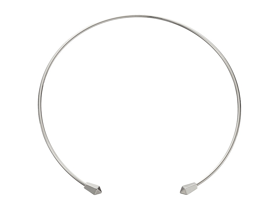Rebecca Minkoff - Two Pyramid Collar Necklace (Imitation Rhodium) Necklace