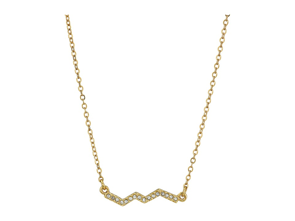 Rebecca Minkoff - Crystal Zigzag Pendant Necklace (Gold Toned/Crystal) Necklace