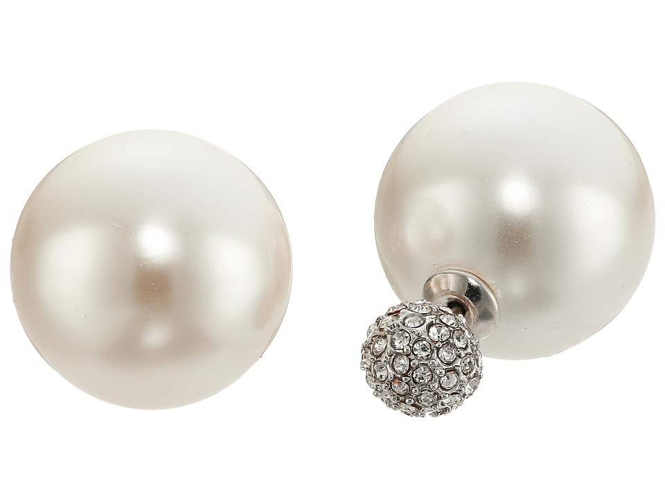 Rebecca Minkoff - Large Pearl Front to Back Earrings (Imitation Rhodium/Pearl/Crystal) Earring