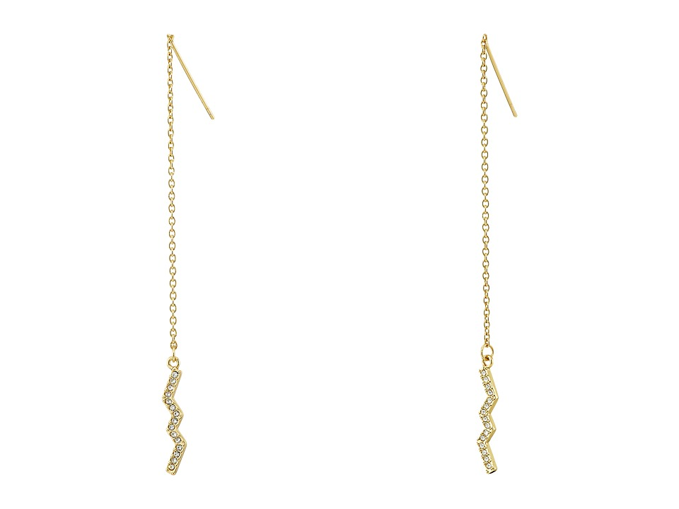 Rebecca Minkoff - Geometric Threader Earrings (Gold Toned/Crystal) Earring