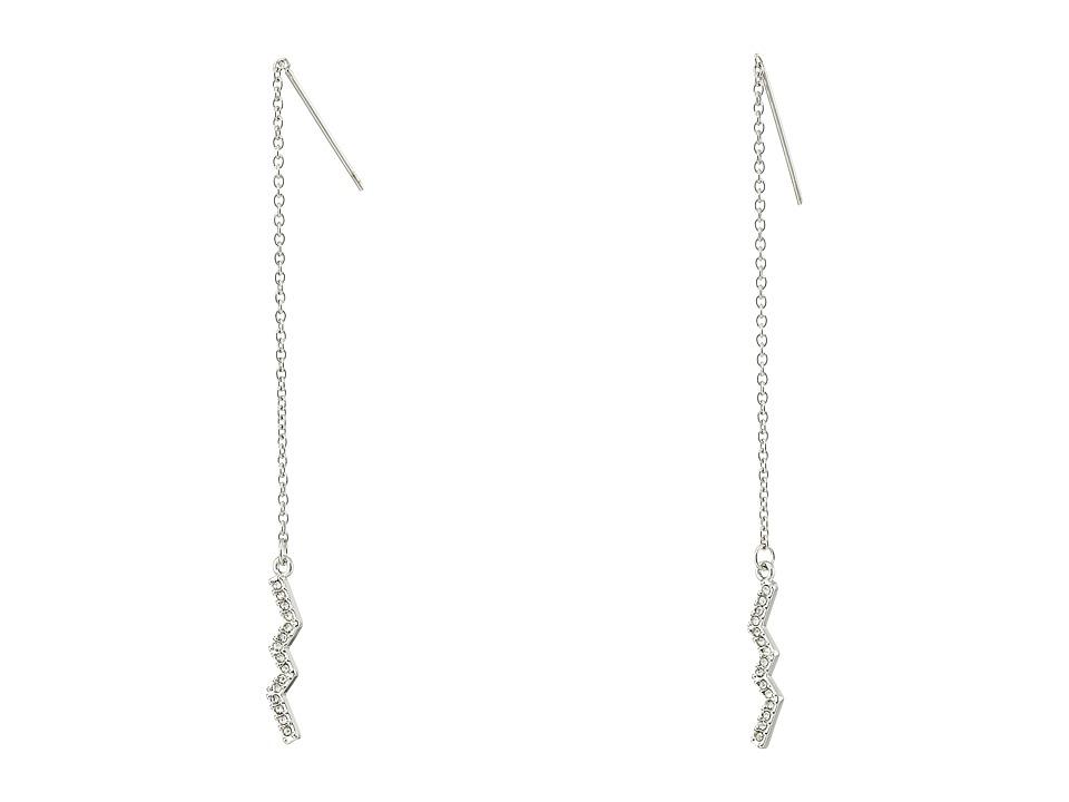 Rebecca Minkoff - Geometric Threader Earrings (Imitation Rhodium/Cystal) Earring