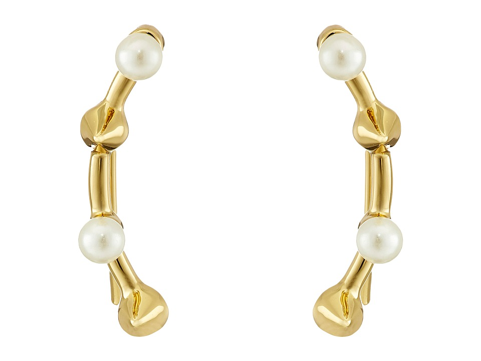 Rebecca Minkoff - Pearl Cone Climber Earrings (Gold Toned/Pearl) Earring
