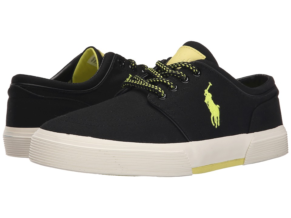 Polo Ralph Lauren - Faxon Low (Polo Black/Neon Yellow Canvas) Men's Lace up casual Shoes