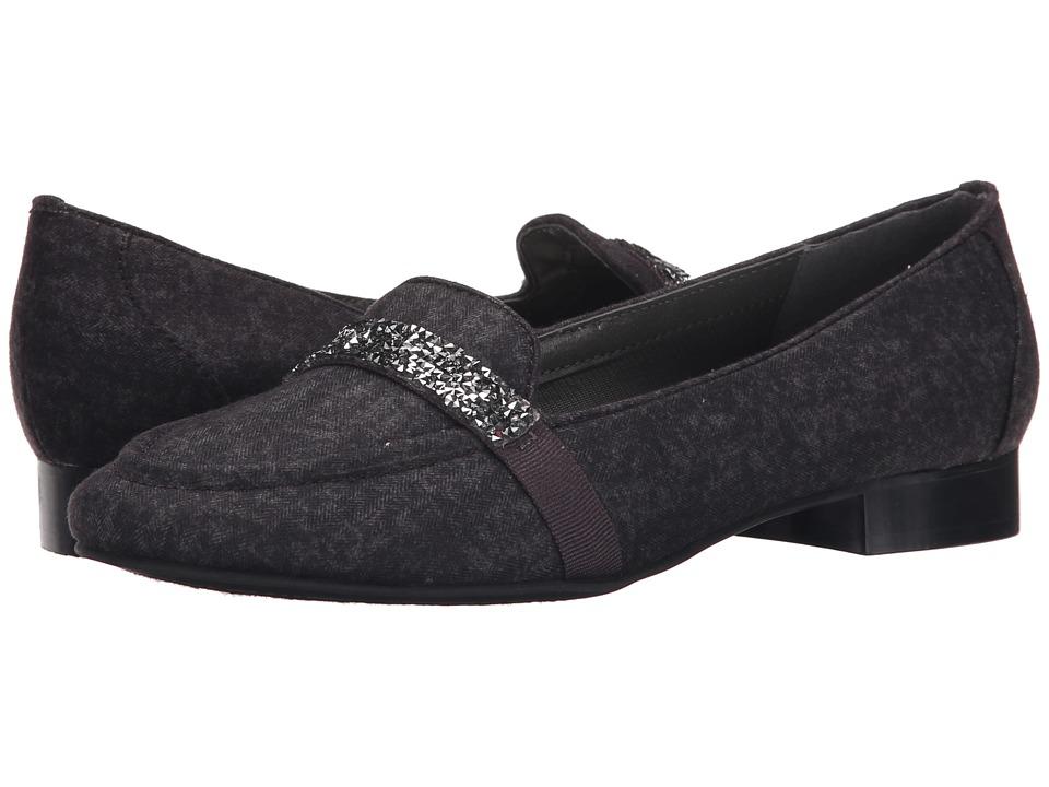 Image of Ann Marino - Kara (Dark Grey Fabric) Women's Slip on Shoes