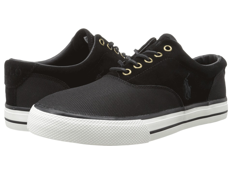 Polo Ralph Lauren - Vaughn Saddle (Black Pique Nylon/Sport Suede) Men's Lace up casual Shoes
